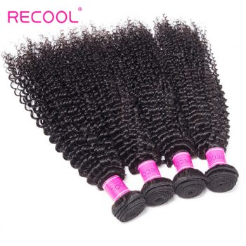 Kinky Curly Hair Weave 4 Bundles Recool Hair 8A Top Quality Virgin Peruvian Hair Bundles For Sale