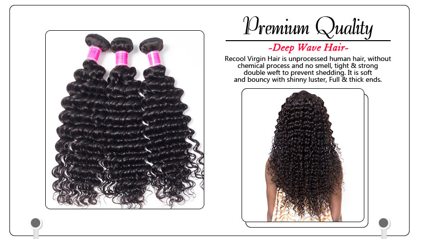 Indian Human Hair Deep Wave 4 Bundles Grade 8a Recool Hair