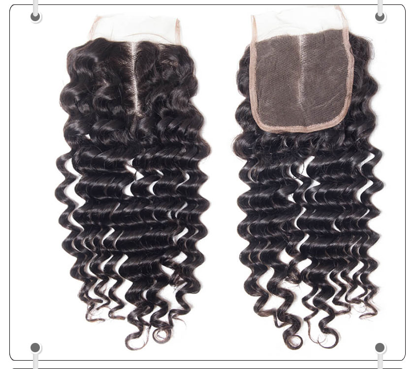 Recool Virgin Hair Deep Wave Human Hair 4*4 Lace Closure 1 PCS