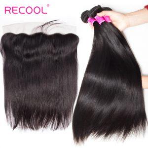 Recool Hair 8a Mink Malaysian Virgin Hair Straight With Frontal Malaysian Straight Human Hair 3 Bundles With Frontal