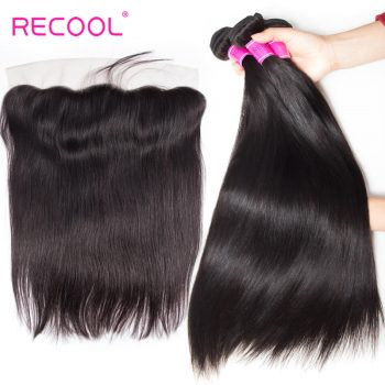 Recool Hair 8a Mink Malaysian Virgin Hair Straight With Frontal Malaysian Straight Human Hair 3 Bundles With Frontal