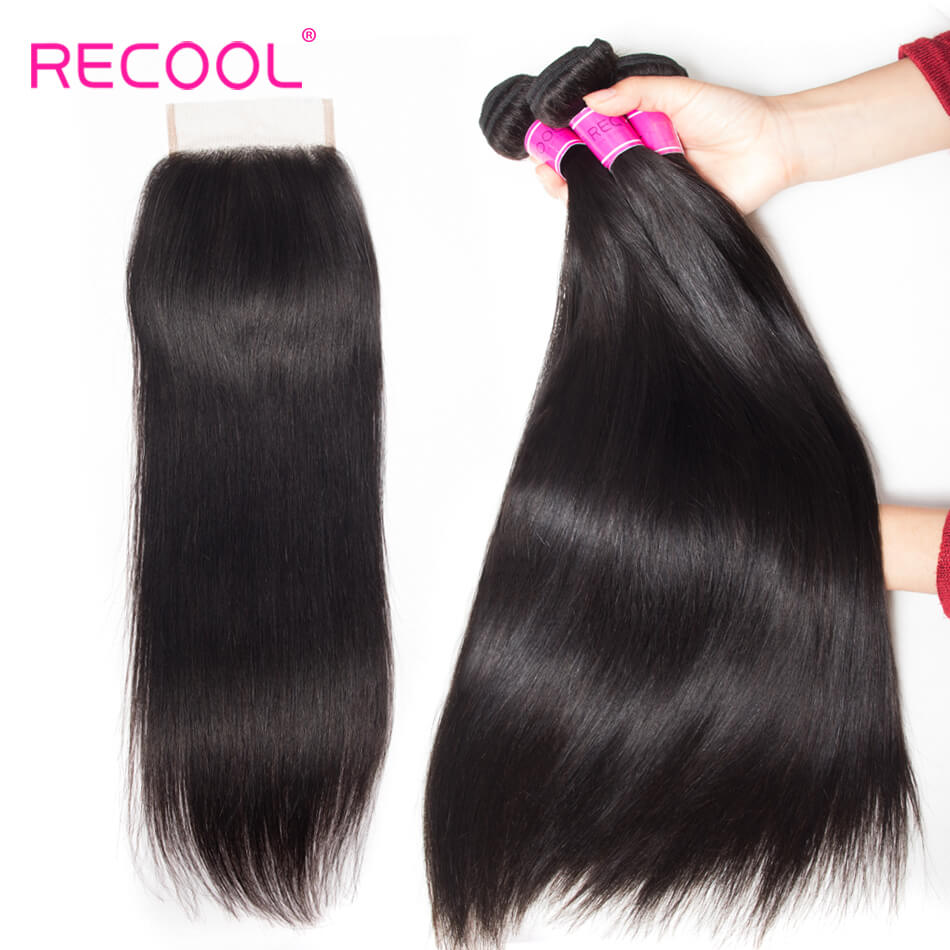 8A Indian Straight Hair Bundles With Closure Free Part Middle Part Three Part Mink Straight 3 Bundles With Lace Closure