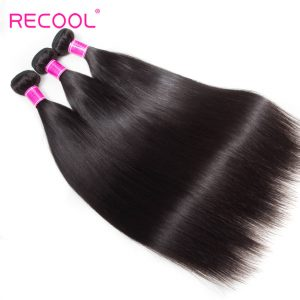 Recool Raw Indian Hair Straight 3 Bundles Remy Virgin Human Hair Weave Bundles 8A Best Quality