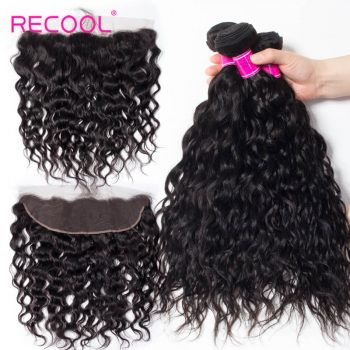 3 Bundles With Frontal Peruvian Wet And Wavy Human Hair Weave Bundles With Frontal No Shedding No Tangle