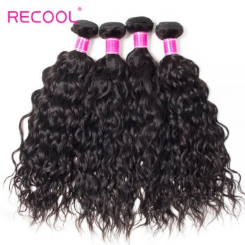 Wet And Wavy Human Hair Weave 4 Bundles Recool Hair Virgin Indian Hair Water Wave Bundles