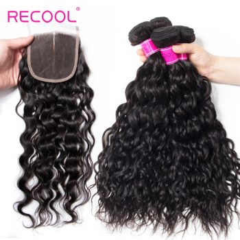 Indian Water Wave Bundles With Closure Recool Hair 4 Bundles Wet And Wavy Human Hair Weave With Closure