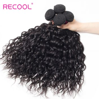 Wet And Wavy Human Hair Weave 4 Bundles Recool Hair Virgin Brazilian Hair Water Wave Bundles