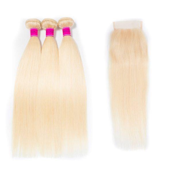 Brazilian 3 bundles 613 Straight Virgin Human Hair with lace closure