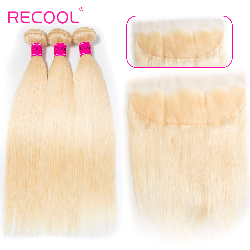 613 Blonde Virgin Human Hair Straight 3 Bundles With Lace Frontal Honey Blonde Brazilian Straight Hair 8A Human Hair Extensions 1