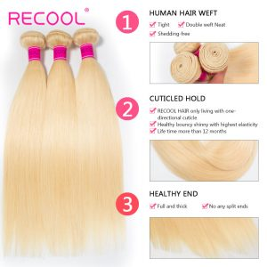 613 Blonde Virgin Human Hair Straight 3 Bundles With Lace Frontal Honey Blonde Brazilian Straight Hair 8A Human Hair Extensions 2