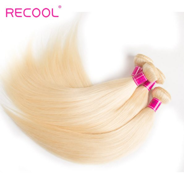 613 Blonde Virgin Human Hair Straight 3 Bundles With Lace Frontal Honey Blonde Brazilian Straight Hair 8A Human Hair Extensions 3