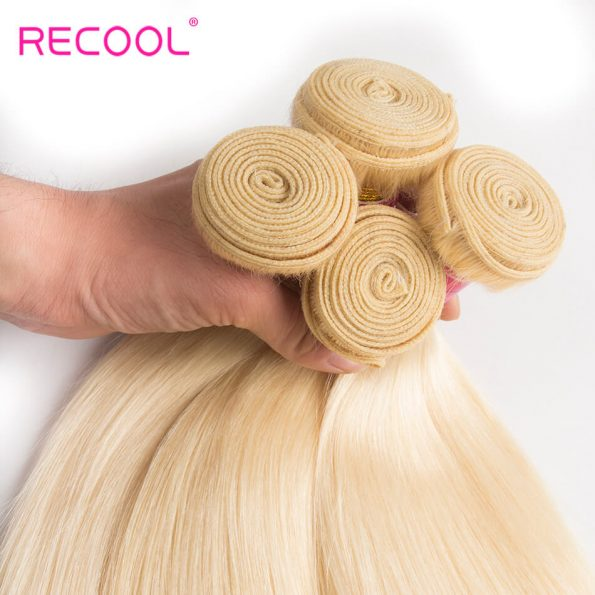 613 Blonde Virgin Human Hair Straight 3 Bundles With Lace Frontal Honey Blonde Brazilian Straight Hair 8A Human Hair Extensions 4