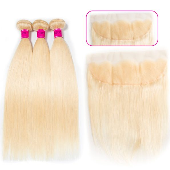Blonde 613 Straight 3 Bundles Human Hair With Lace Frontal