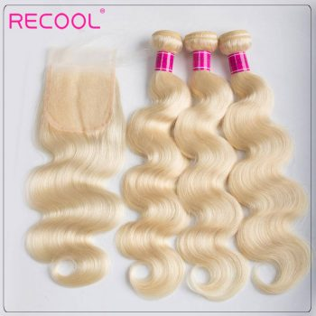 3 Bundles Body Wave 613 Blonde Human Hair Weaves With Lace Closure