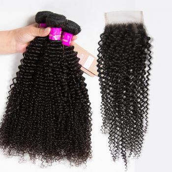 Brazilian Kinky Curly Virgin Hair With Closure Raw Brazilian Hair Bundles