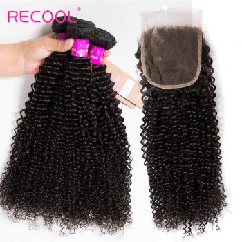 kinky curly wave hair with lace closure