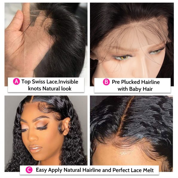 13×4 lace front wig details curly