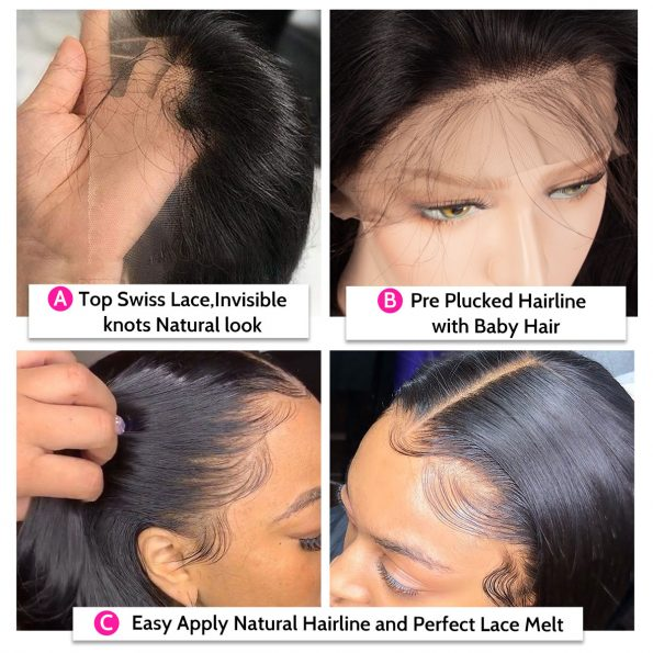 13×4 lace front wig details straight body wave (2)