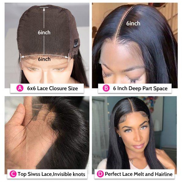 6×6 lace wig details