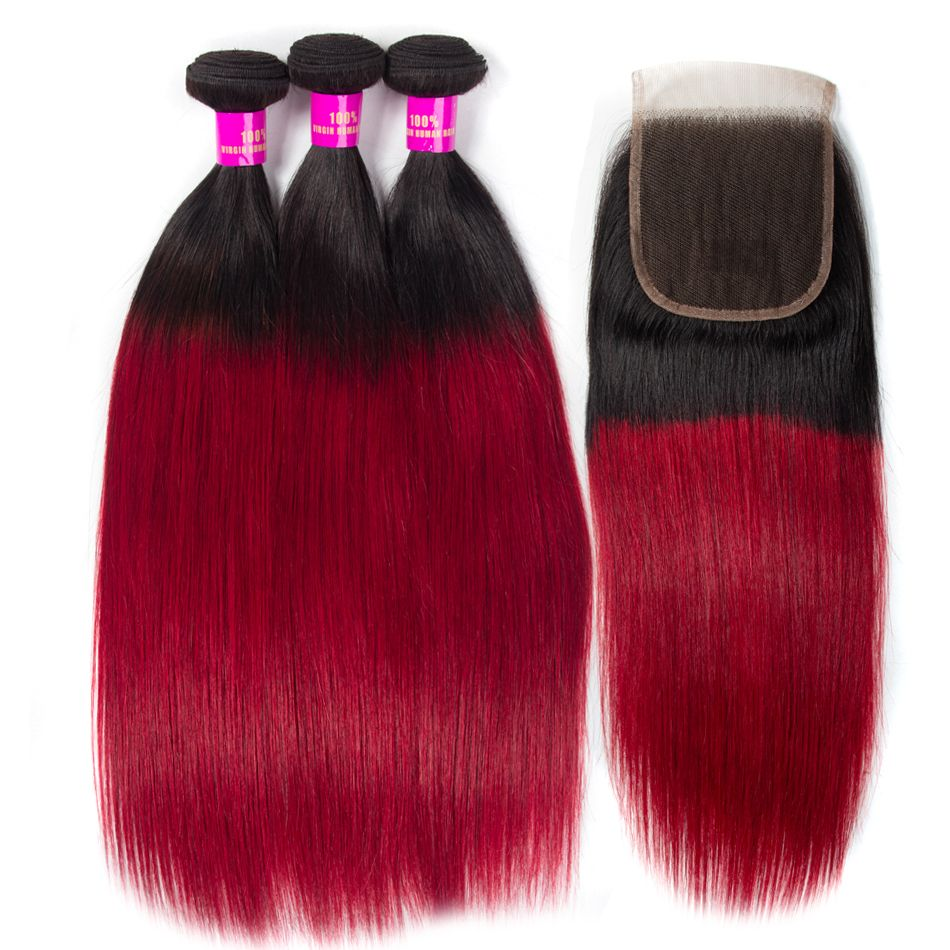 Brazilian T1b-red Straight Hair 3 Bundles With Lace Closure