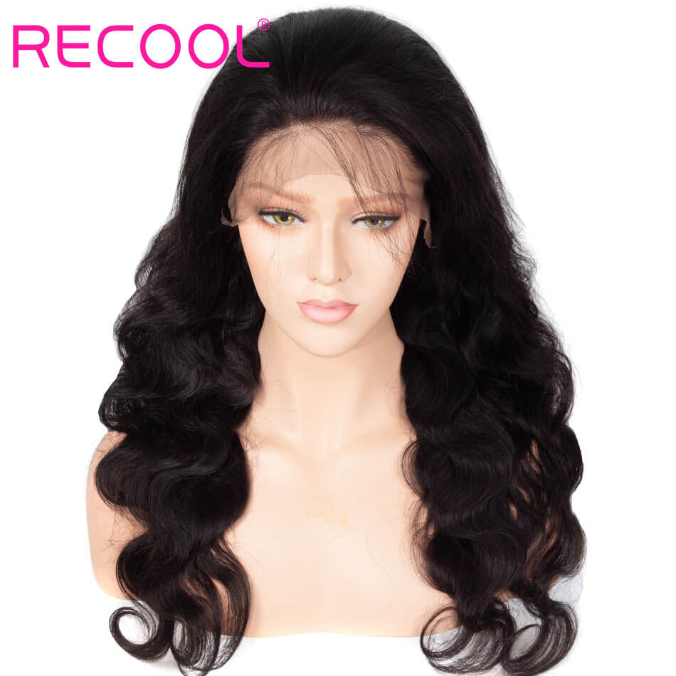 Recool 360 Lace Frontal Wigs Pre Plucked With Baby Hair Full Brazilian Body Wave Human Hair Lace Front long Wigs For Black Women