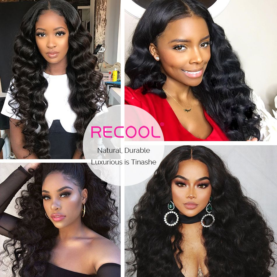loose deep wave human hair lace front wig model show
