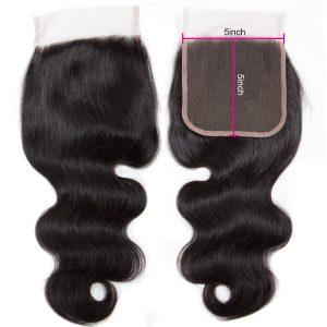 Virgin Body Wave Human Hair 5X5 Lace Closure