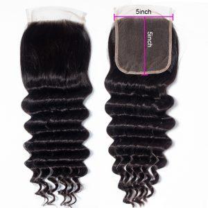 Virgin Loose Deep Wave Human Hair 5X5 Lace Closure