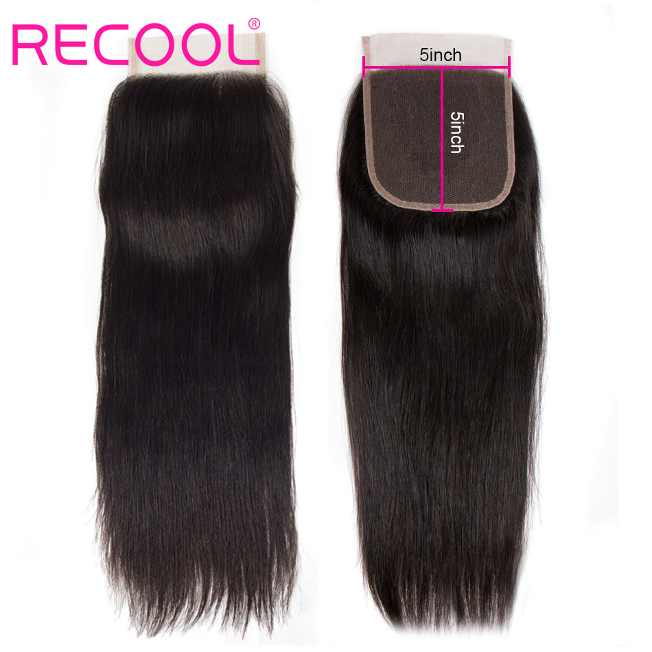 straight human hair 5x5 lace closure
