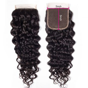 water wave human hair 5x5 lace closure