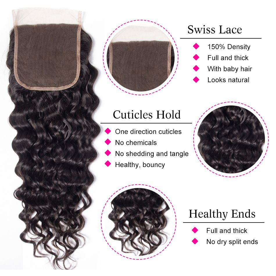 water wave virgin human hair 5x5 lace closure