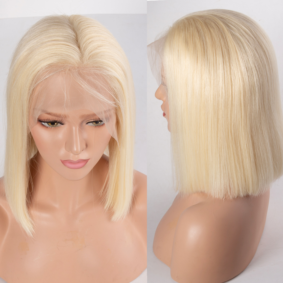 613 blonde straight hair bob lace front wig 7