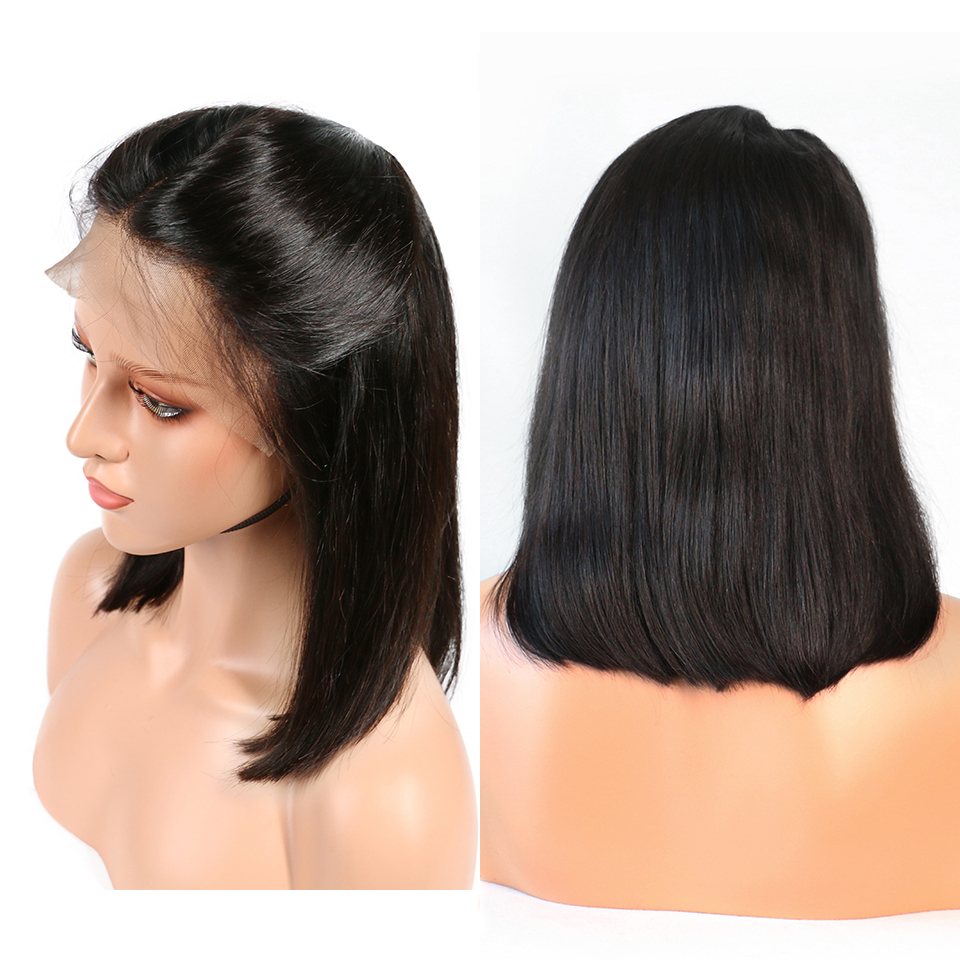 straight hair bob lace front wig