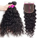 Brazilian Water Wave Hair 3 Bundles With 5x5 Lace Closure