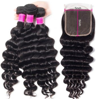 Loose Deep Wave Hair 3 Bundles With 5x5 Lace Closure