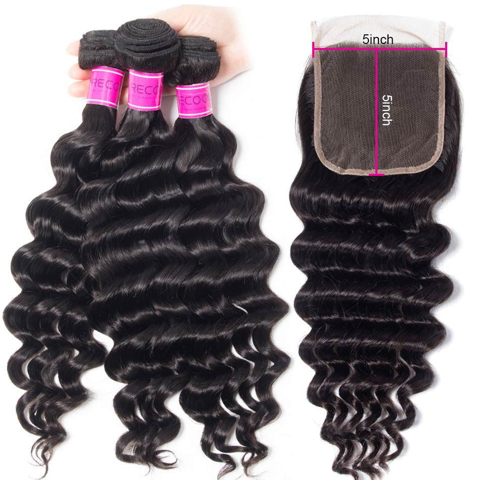 Loose Deep Wave Hair 3 Bundles With 5×5 Lace Closure