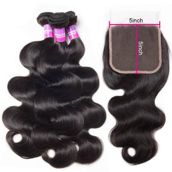 body wave hair bundles with 5x5 lace closure