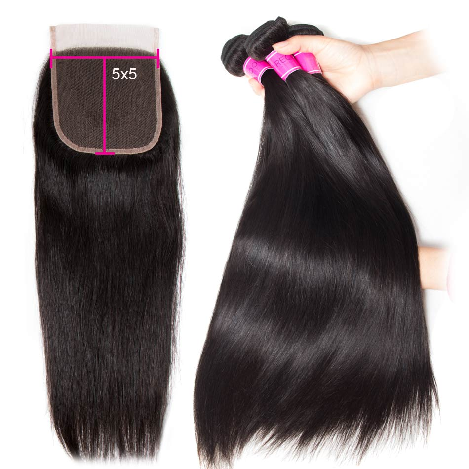 straight hair bundles with 5×5 lace closure
