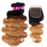 1B/27 body wave hair bundles with lace closure