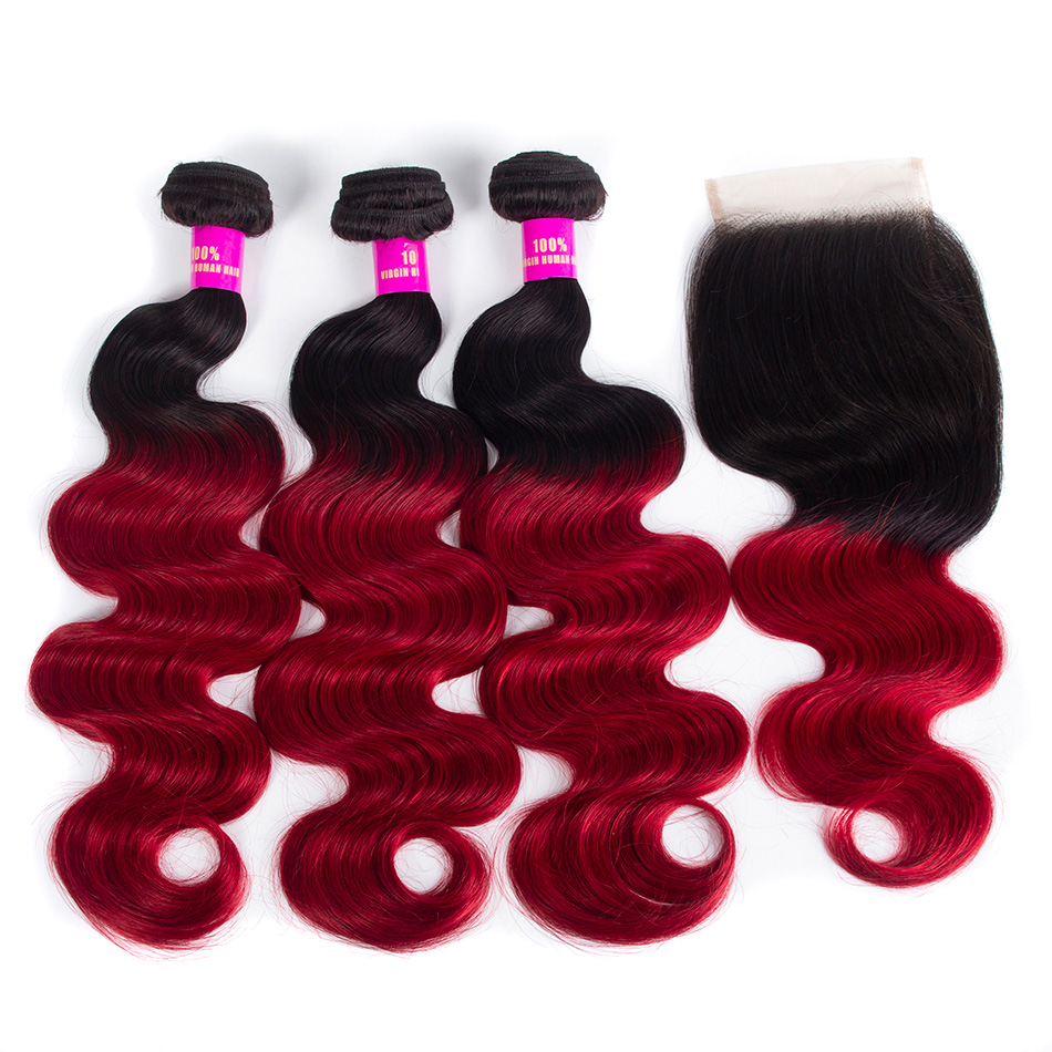 1B red body wave hair bundles with lace closure
