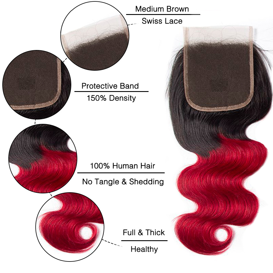 1B red body wave lace closure 1
