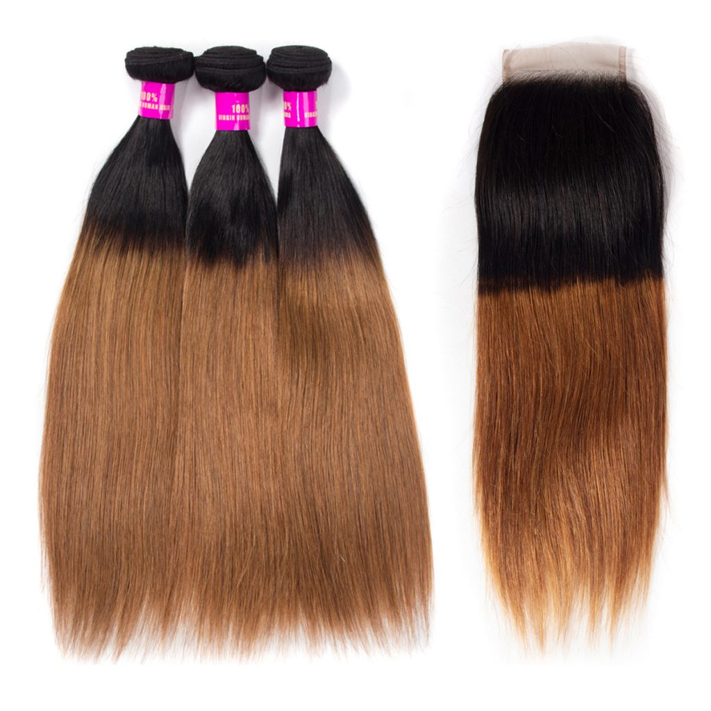 Brazilian Ombre 1B 30 Straight Hair Bundles With Lace Closure
