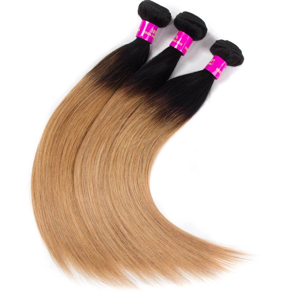 Brazilian Ombre Hair 1B27 Ombre Blonde Straight Human Hair 1