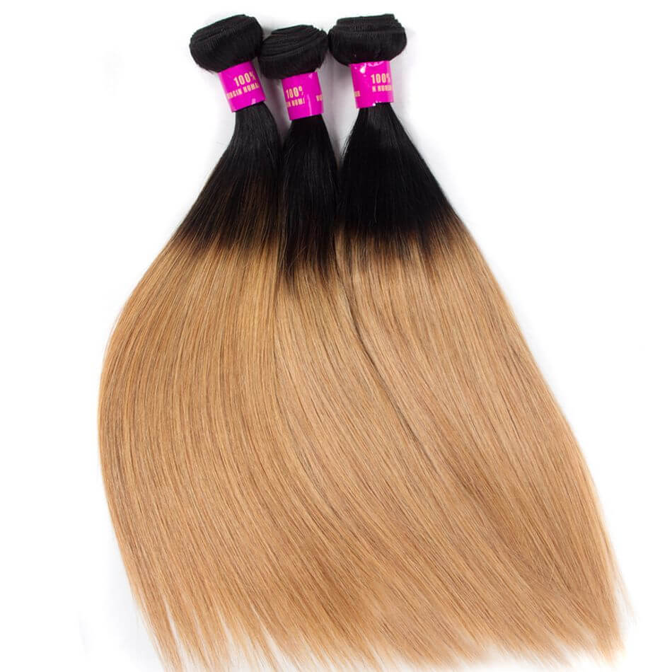 Brazilian Ombre Hair 1B27 Ombre Blonde Straight Human Hair 2