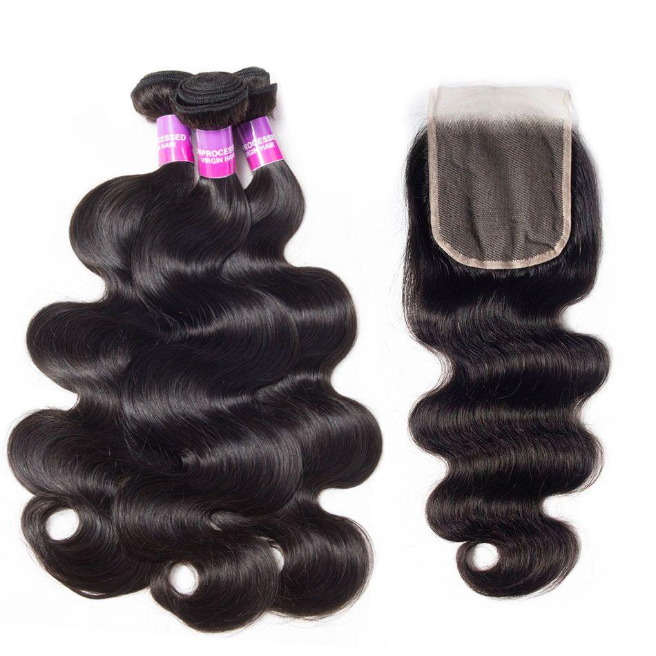 Body Wave Hair 3 Bundles With Transparent Lace closure