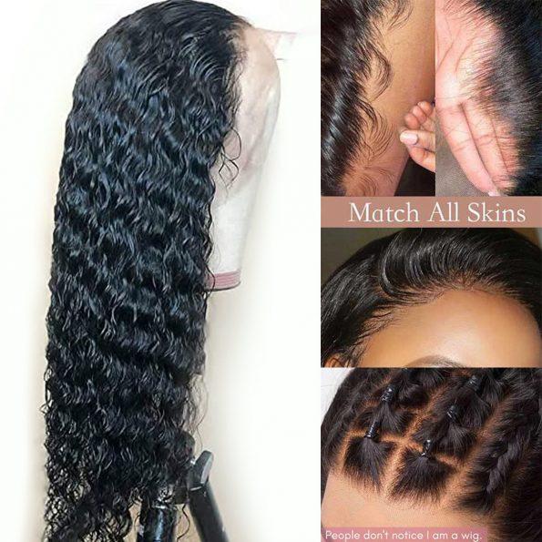 Transparent lace deep wave wig 3
