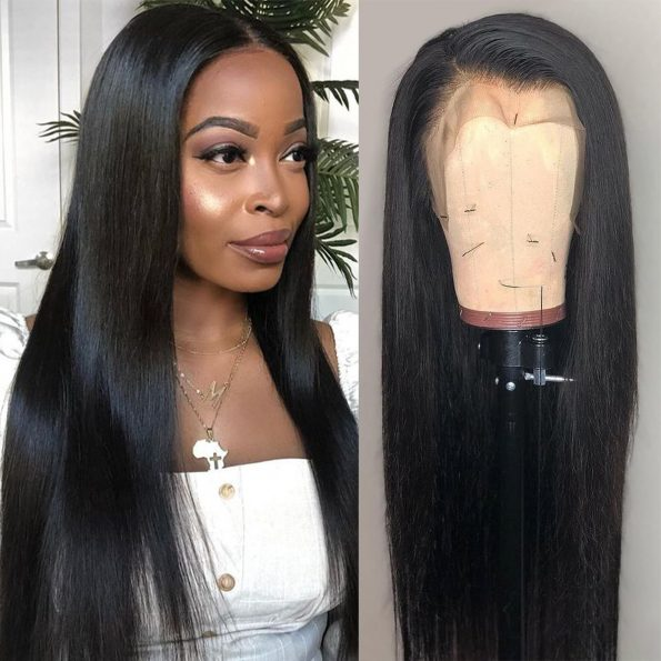 Transparent lace straight wig 4