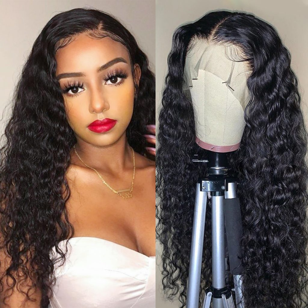 Transparent lace water wave wig 1