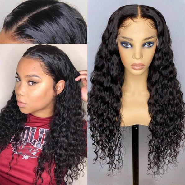 Transparent lace water wave wig 4