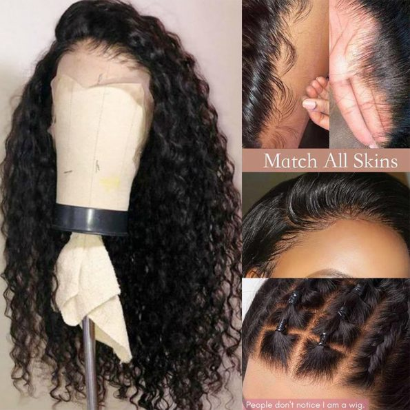 Transparent lace water wave wig 5